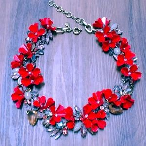 J. Crew Mardi Gras floral flower wreath necklace